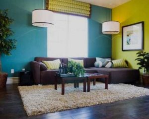 Decoración de chalets paredes con dos colores