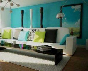 Diseño de interiores salón con pared azul