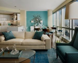 Interiores de chalets salón azul